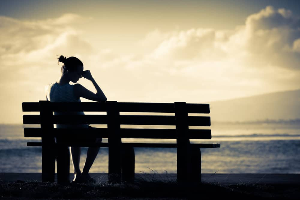 woman sitting on park bench