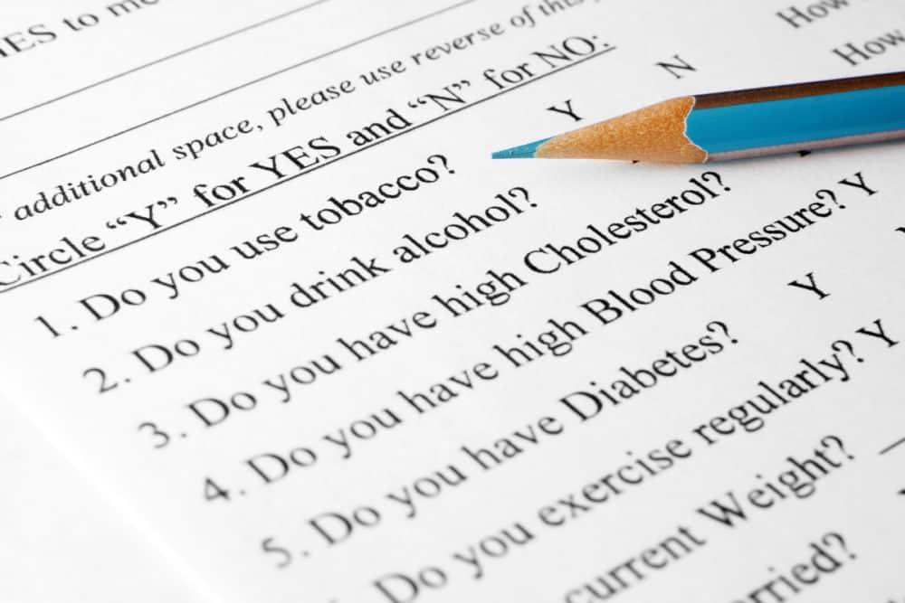 Insurance questionnaire