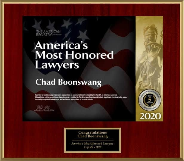 America's Most Honored Lawyers plaque to Chad Boonswang